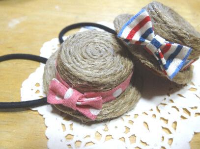 【送料込み】麦わら帽子のヘアゴム*Tricolour