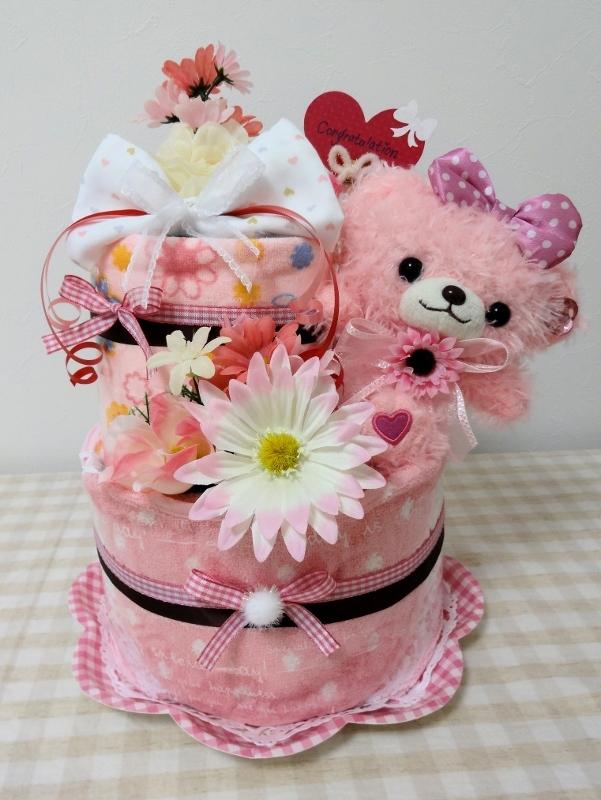 ピンクマちゃん2段おむつケーキ
