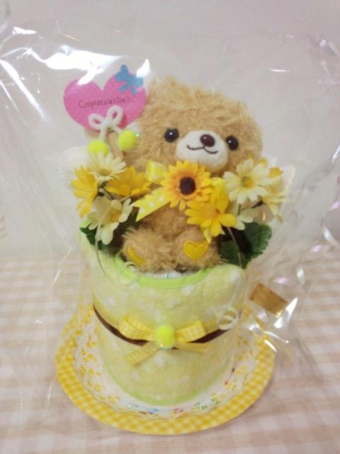 イエロークマちゃん1段おむつケーキ