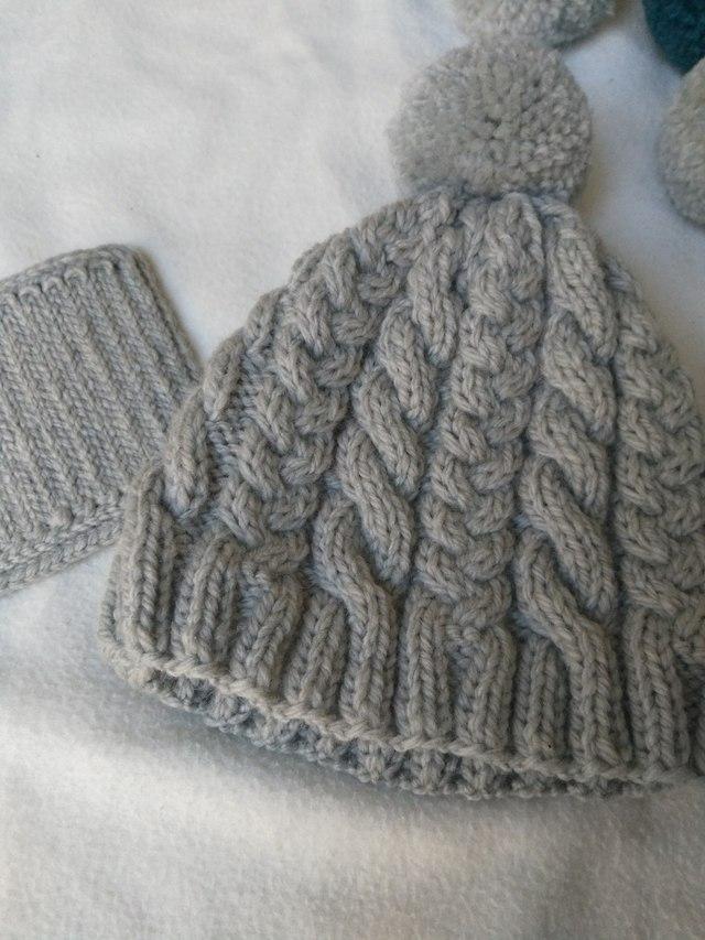 縄編み?三つ編みのティーコゼー(灰)Mサイズ