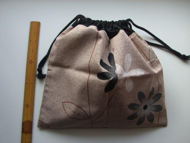 大きな花 巾着袋(マチなし)