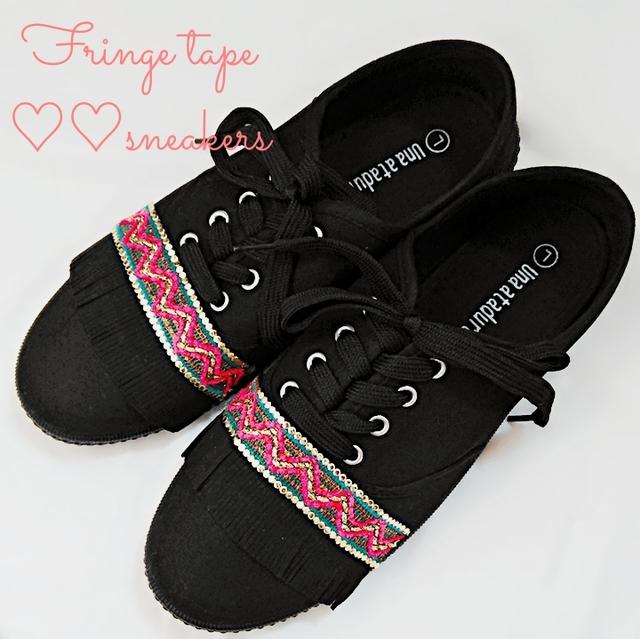 A type Fringe tape sneaker
