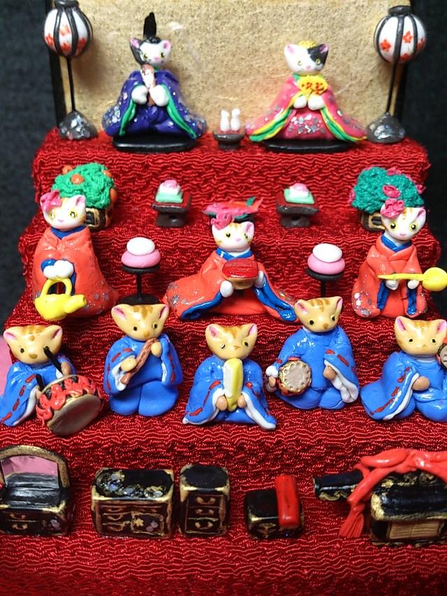 豆にゃんこ雛壇 【五段飾り】雛人形 粘土 ひな祭りネコ猫ねこ