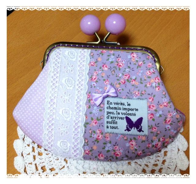 紫の蝶々*チェーン付きパープル飴玉げんこのがま口ポーチ
