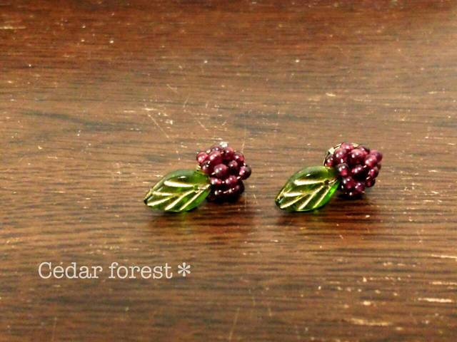 森の木の実 ラズベリーピアス、イヤリング