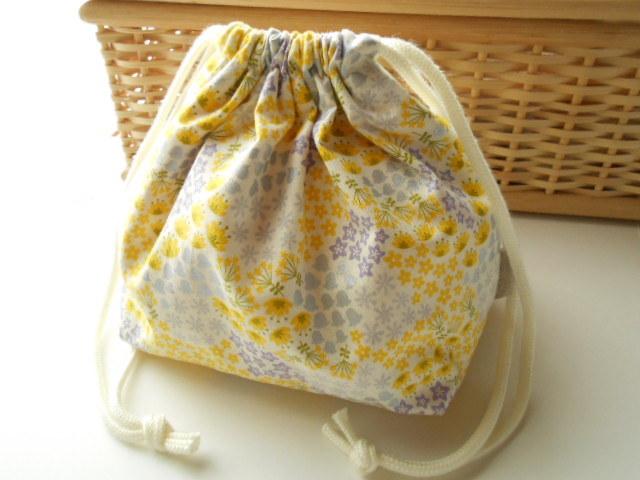 清々しいコットンのお花畑お弁当袋(黄色&薄紫)