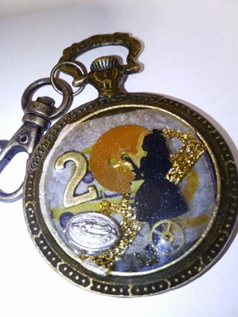 レジン 懐中時計型キーホルダー (訳あり)