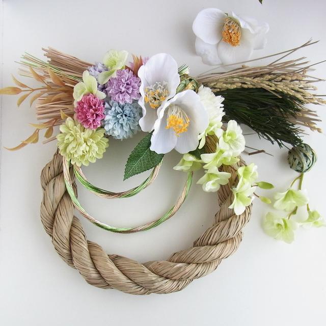 白椿とパステルポンポンマム お正月飾り