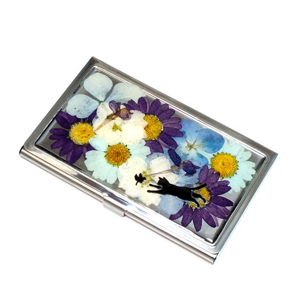 押し花のカードケース(名刺入れ)*ブ...
