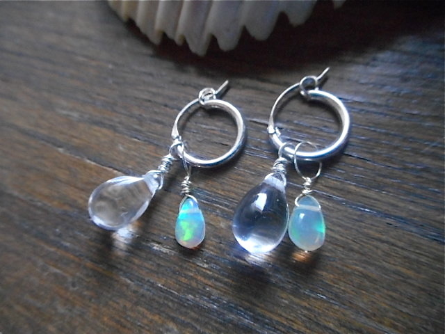 Silver Hoop with Opal Drop Earrings��3way