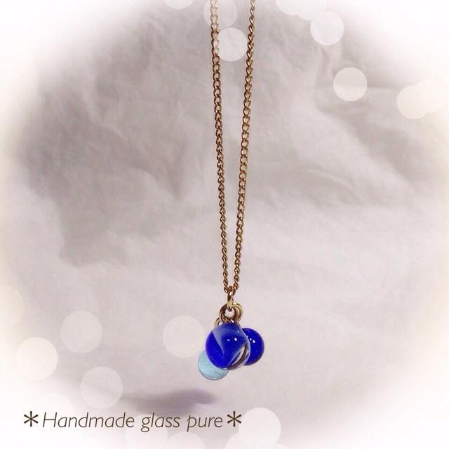 R-58 *ガラスの実のネックレス*ブルー