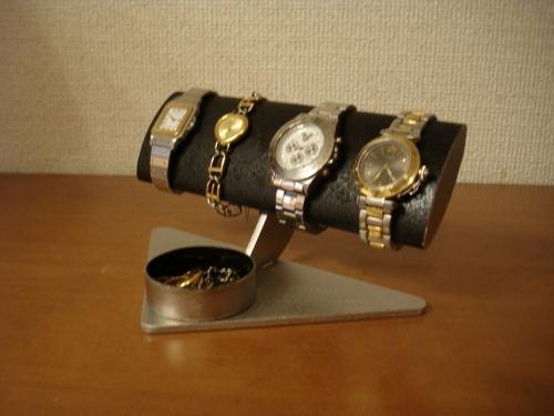 時計ケース 幅広だ円ブラック男性用腕時計スタンド 丸トレイバージョン