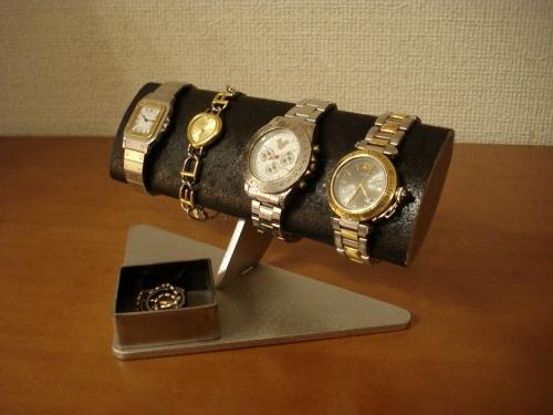 腕時計ケース 腕周り太い方用幅広だ円ブラック腕時計スタンド
