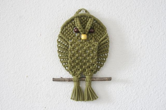 森の賢者フクロウのマクラメ編み小さな...