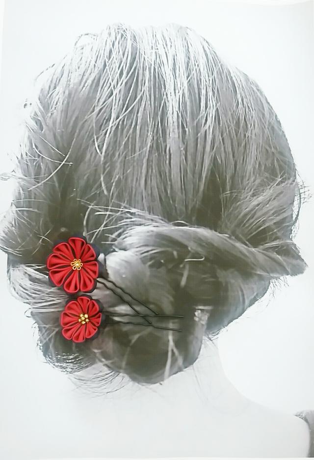 丸つまみのヘアピン2本セット