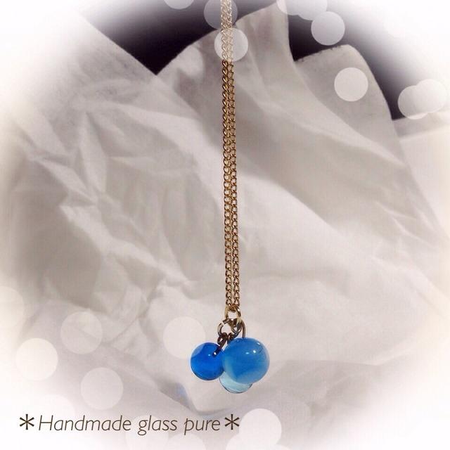 R-59 *ガラスの実のネックレス*ブルー