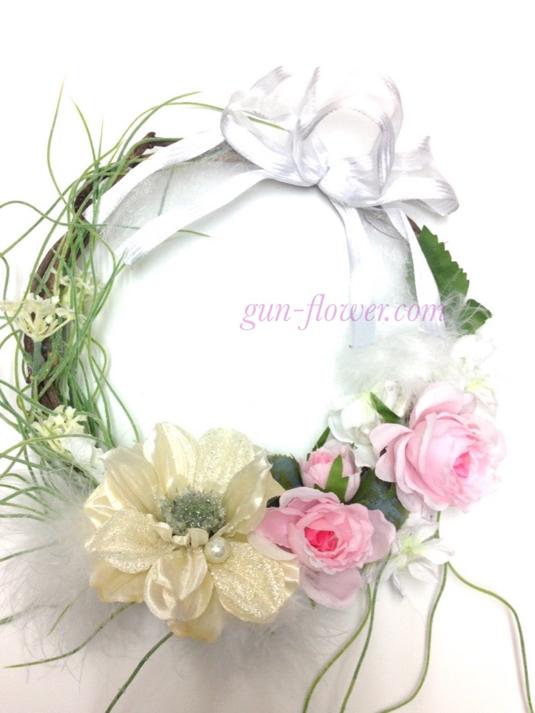 天使イメージのリース(ピンク系)◆アーティフィシャルフラワー(造花)