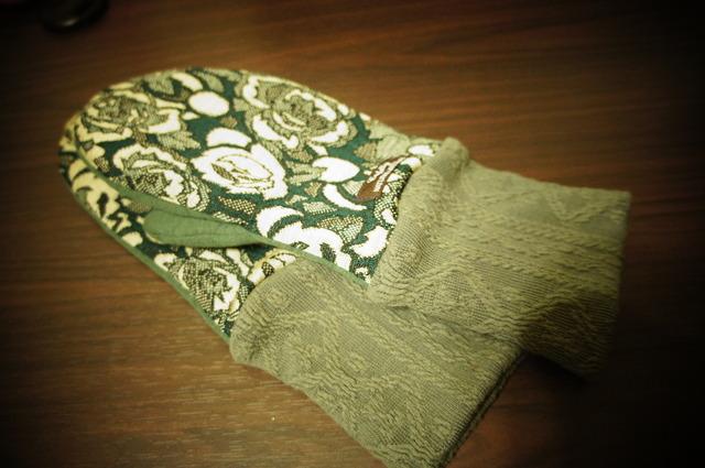 A・レディース用フリーサイズ手袋花柄グリーン