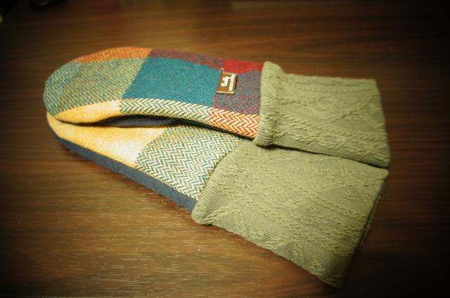 C・レディース用フリーサイズ手袋ウールチェック