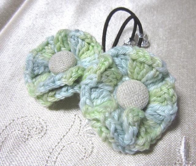 k12 グリーン系mixお花&くるみボタンのヘアゴム2個 子供用