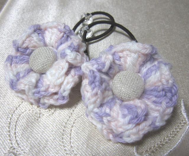 k13 うすピンクmixお花&くるみボタンのヘアゴム2個 子供用