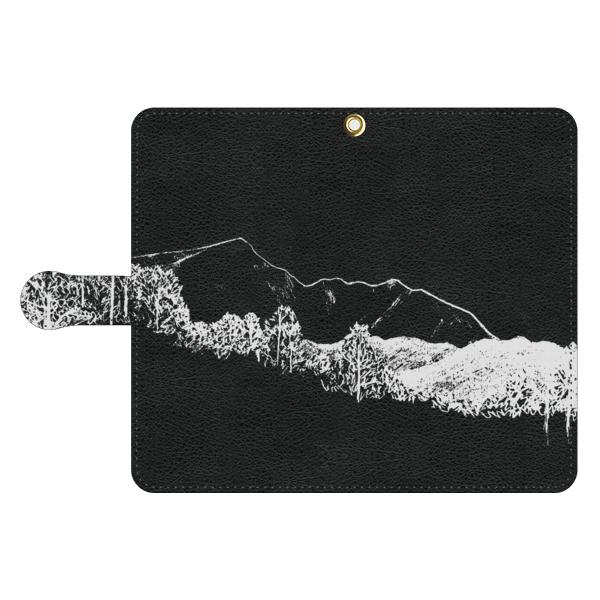 MOUNTAIN 黒革手帳型スマホケース
