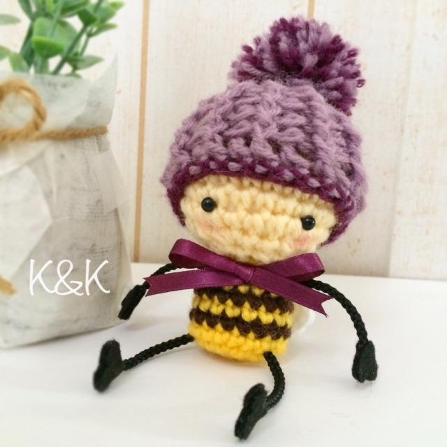 あみぐるみ ミツバチのバズバズ(ニット帽+リボン)