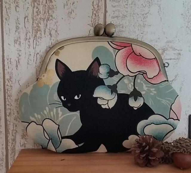 黒猫シンプルがま口(クリーム)