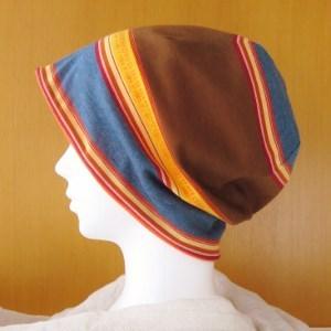 ゆるいリバーシブル帽子 ランダムボーダー/オレンジ(CSR-010-BO)
