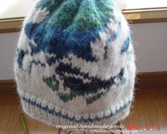 ☆彡アルパカ100%毛糸のカモメと深海魚のだまし絵編み込み模様のニット帽