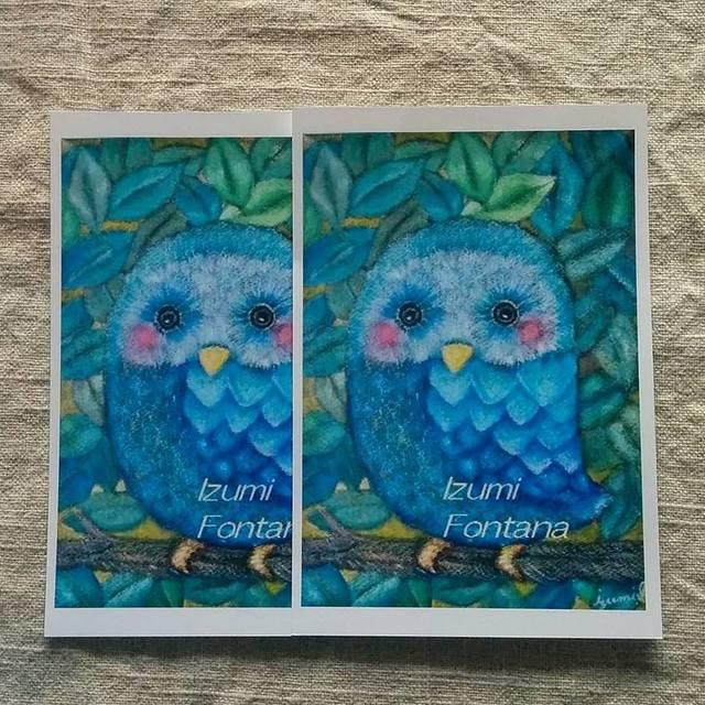 青いふくろう ポストカード二枚セット