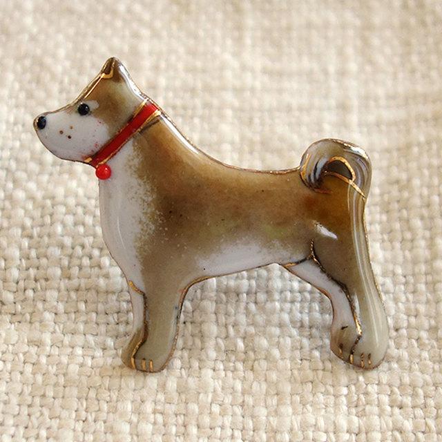七宝焼ブローチ 柴犬 2