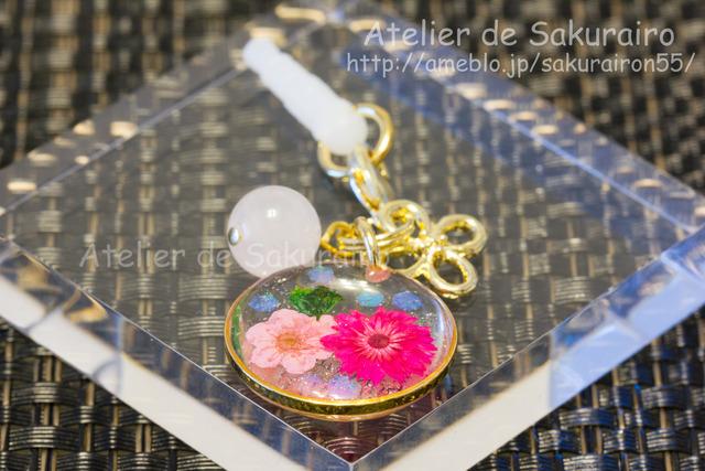 ローズクオーツとお花のスマホピアス(桃薔薇)