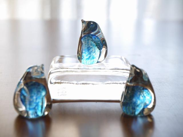 Tres Amigos (Blue) ガラスのペンギン