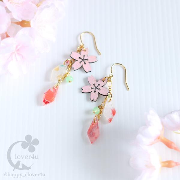 【さくら、咲く】 桜と和柄のピアス/ア...