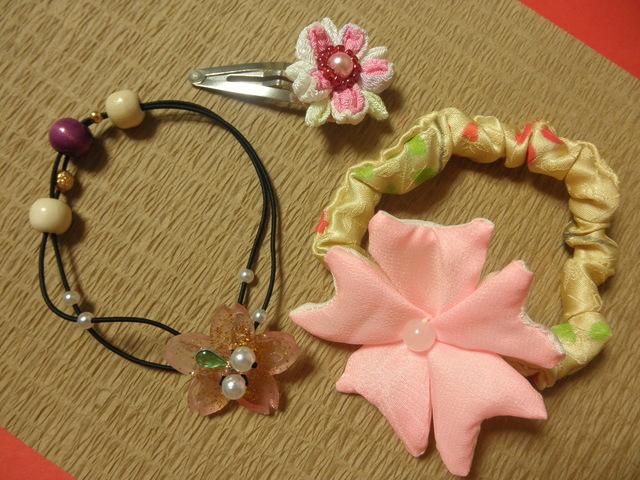 桜のシュシュとスリーピンセット