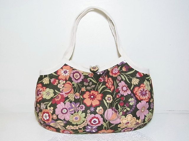 小さめグラニーバッグ「シークレット・ガーデン」ブラウン