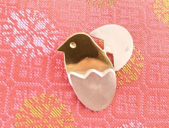 ☆ぴよチャン☆シルバー+真鍮ピンブローチ