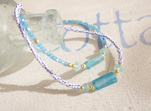 Roman glass seed beads bracelet *14k...