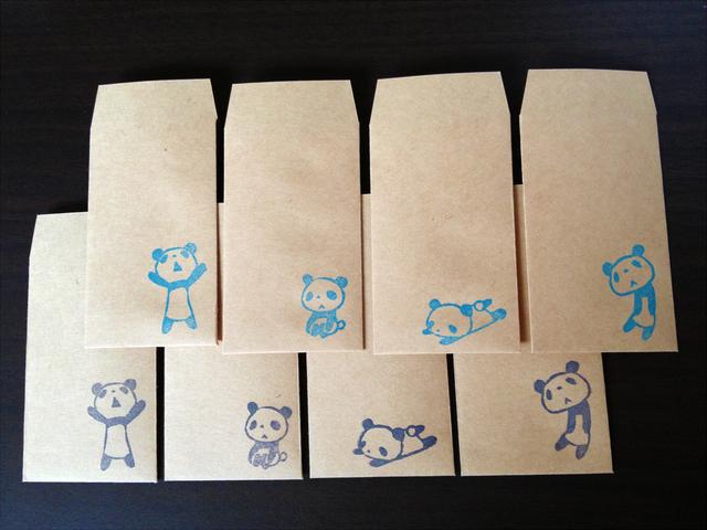 パンダのミニ袋(2色×4種セット)