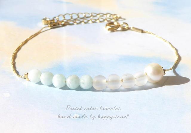 淡色*天然石とパールの華奢なブレスレット