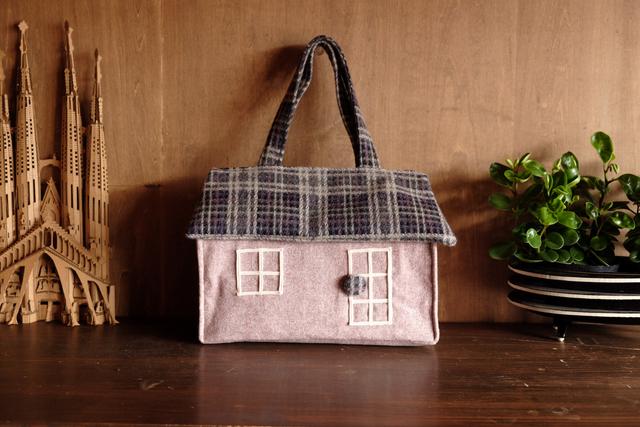 OUCHI box bag L  淡いピンク+チェッ...