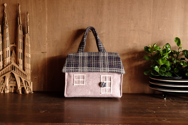 OUCHI box bag S   淡いピンク+チェッ...