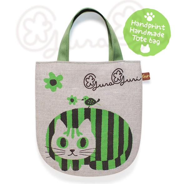 GuraGuri|リネン・ミニトートバッグ|グリーンの丸い猫