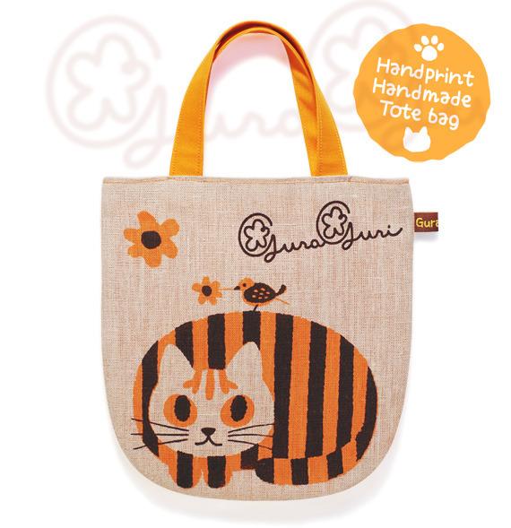 GuraGuri|リネン・ミニトートバッグ|オレンジの丸い猫