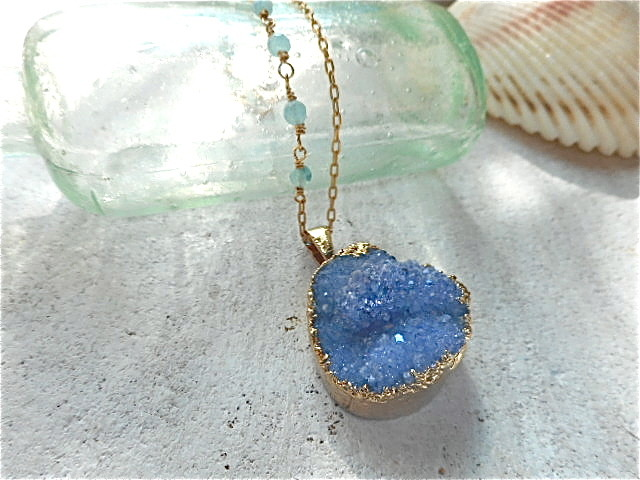 Druzy Ocean Necklace--Royal Blue