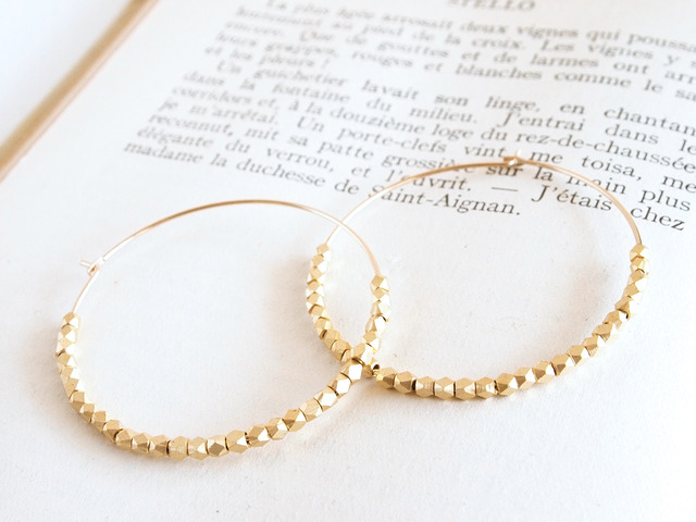 14KGF Metal Beads Hoops / L