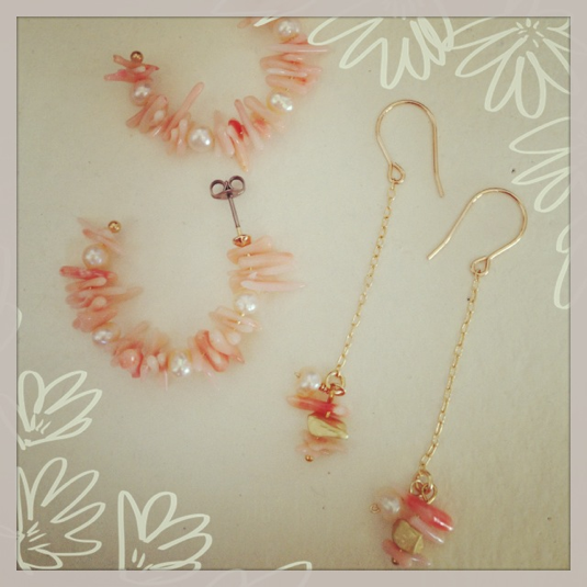 再販*珊瑚とパールのフープピアス