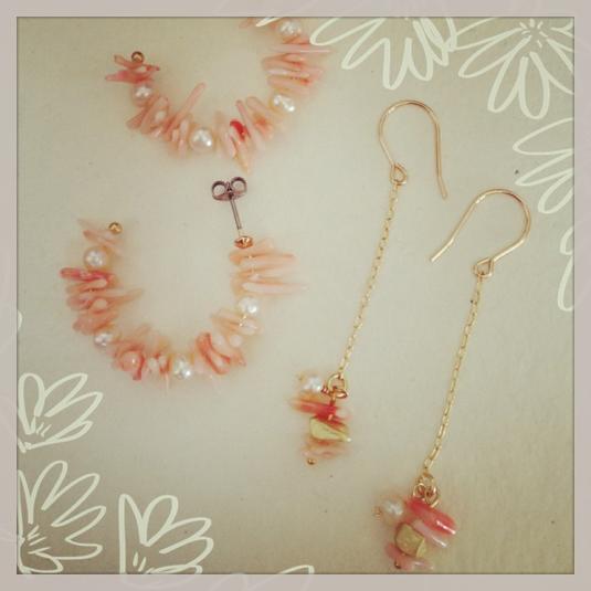 珊瑚とパールのチェーンピアス
