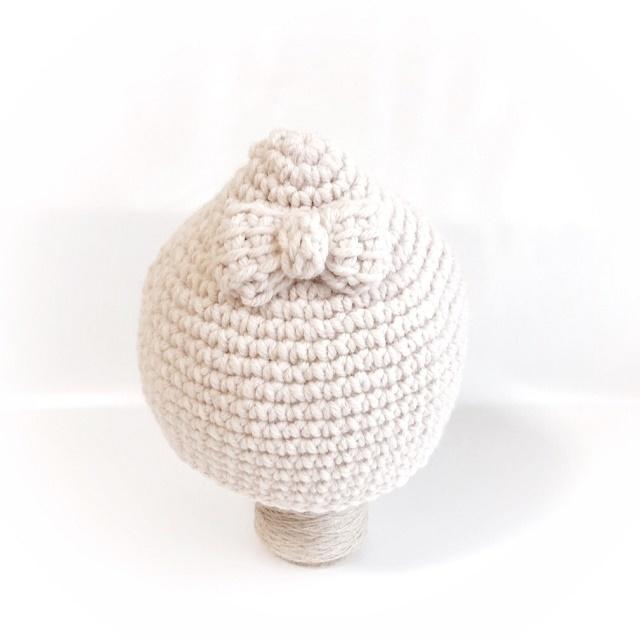 トンガリボンのキッズニット帽子*ベージュ